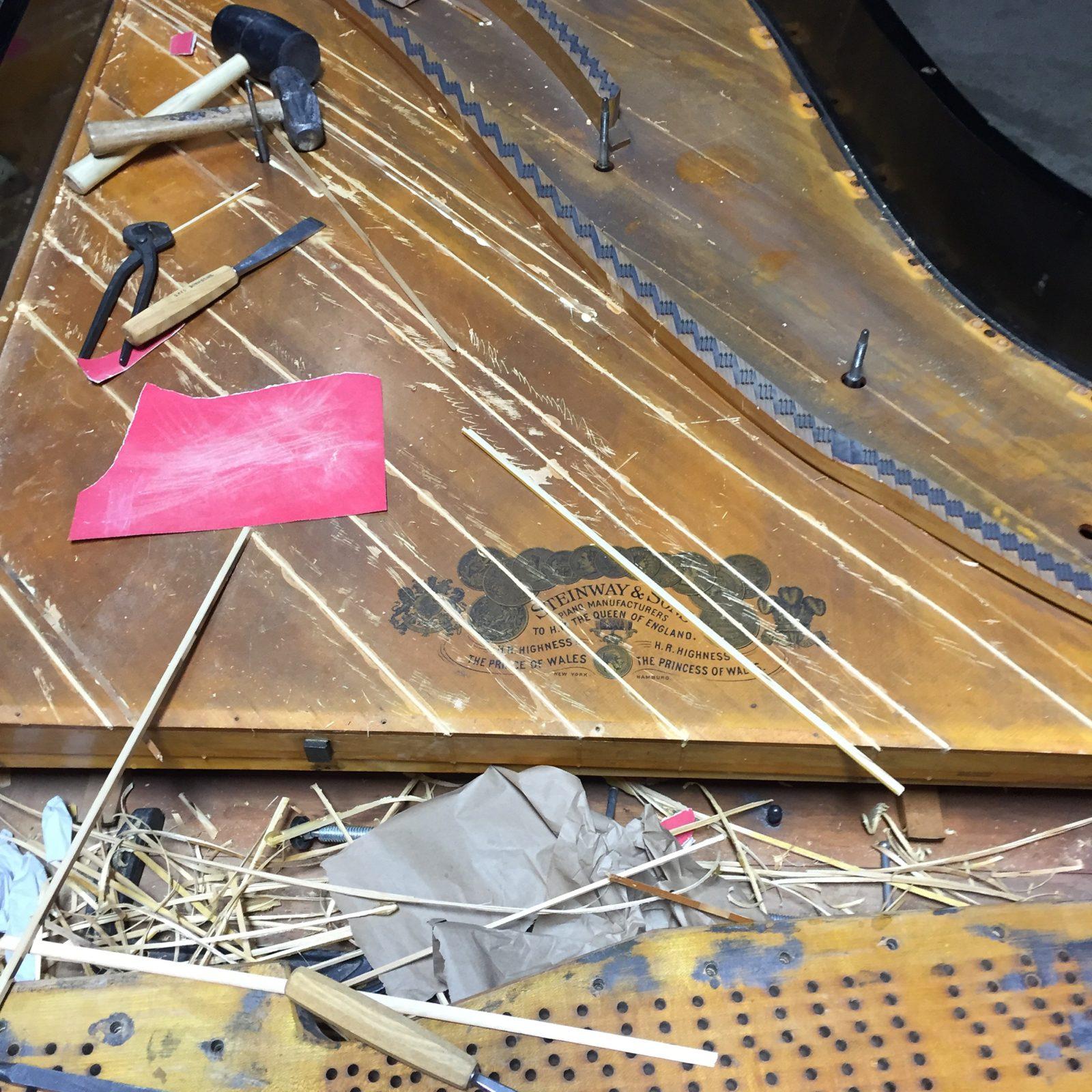 Steinway Grand Piano Soundboard During Restoration Amadeus Piano